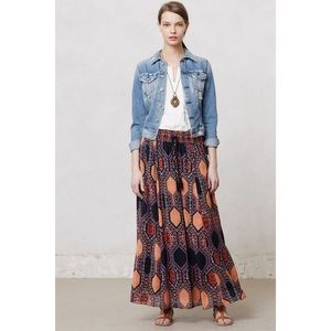 Maeve Anthropologie Hexprint Maxi Skirt